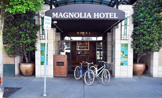 Bikes outside street level entrance of Magnolia Hotel