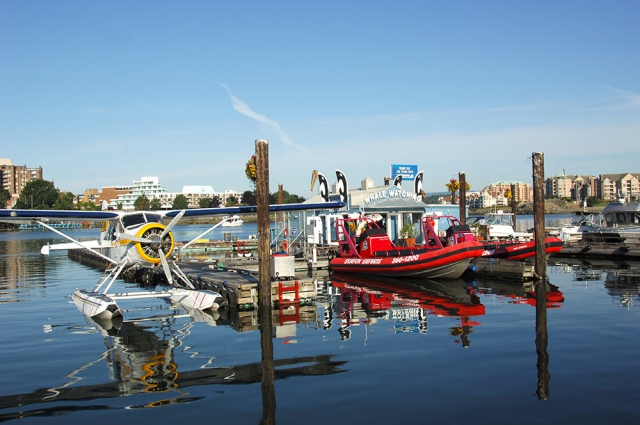 Inner Harbour dock with whale watching boat tours and airplane tours.