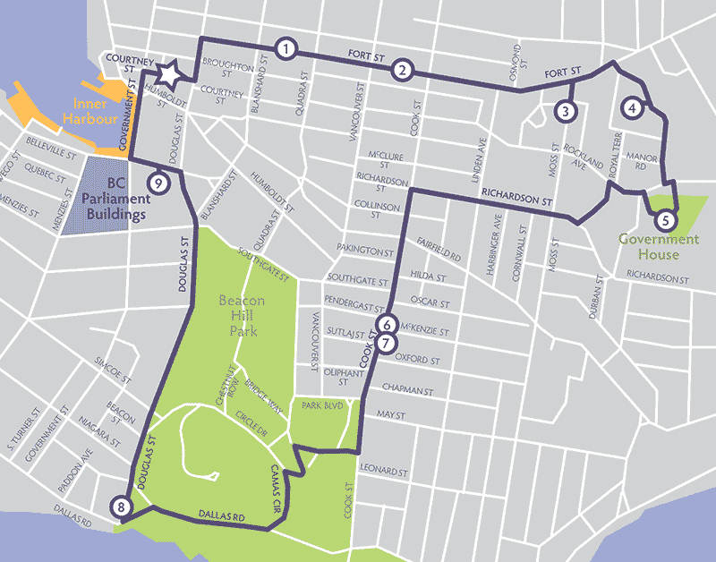 curated map created by Magnolia, walk, bike, explore Victoria, BC.